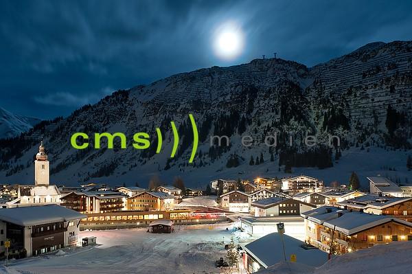 Skigebiet Lech am Arlberg bei Vollmond - Fotoposter - Bildnummer 7103